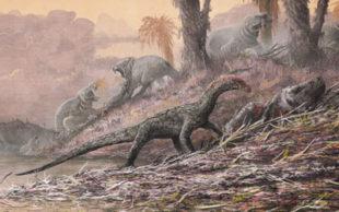 Reconstrução da vida de Teleocrater rhadinus, em ilustração, ao lado de um parente antigo dos mamíferos, o Cynognathus. (Foto: Natural History Museum, London, artwork by Mark Witton)