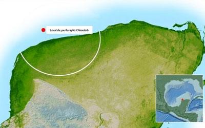 Local onde está a cratera conhecida como Chicxulub e é alvo das perfurações (Foto: Nasa)